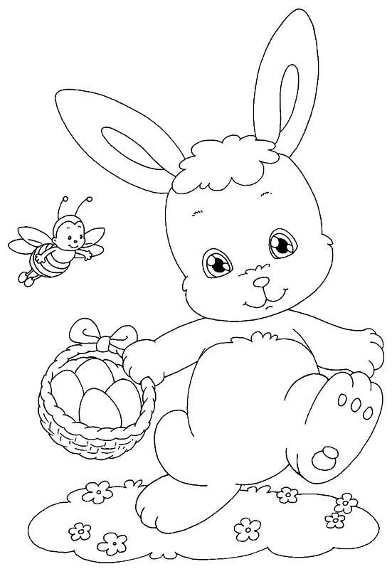 Uovo di Pasqua da colorare, Disegno coniglio di Pasqua