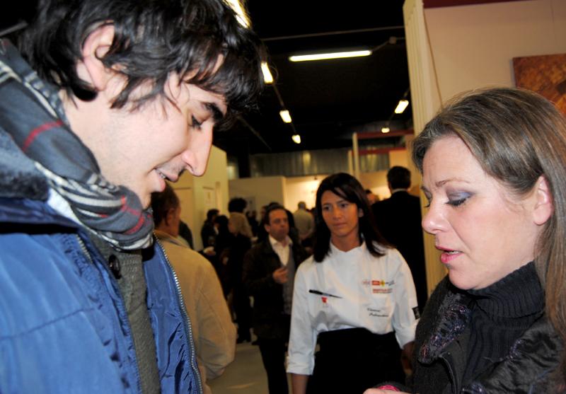 Lorenzo Santi con Spelta Federica (Alimentipedia) a Identità Golose 2012