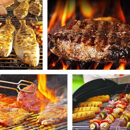 Carne, pesce e verdure alla griglia