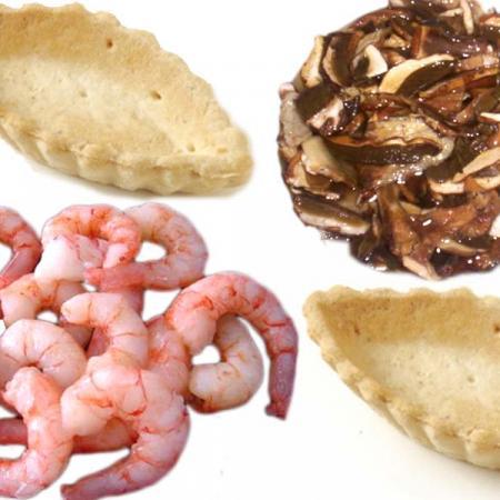 Barchette gamberetti funghi