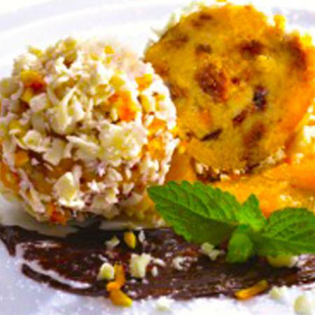 Praline di Panettone, cioccolato bianco e scorza d'arancia