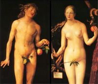 Adamo ed Eva con la foglia di fico