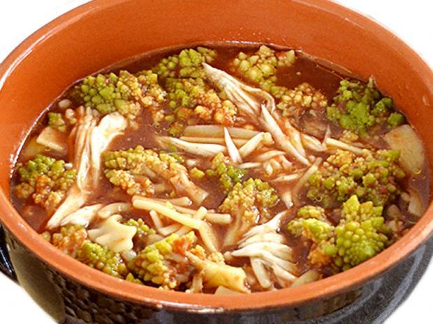 Pasta e broccoli in brodo d'arzilla