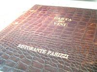 Carta dei vini al Ristorante Parizzi
