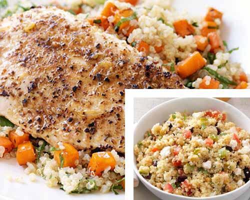 Insalata di quinoa e quinoa con pollo
