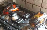 Spellare i peperoni sul gas