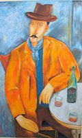 Modigliani: uomo col bicchiere di vino