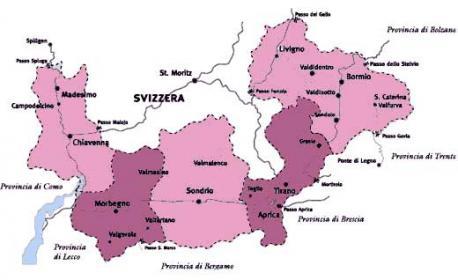Cartina della Valtellina