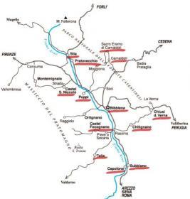 Mappa dei comuni del Casentino