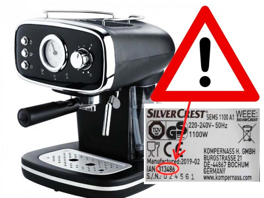 Macchina caffè Silvercrest richiamata