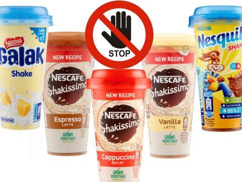Bevande shake diversi gusti Nescafé, Nesquik e Galak richiamati per possibile presenza di tracce di acqua ossigenata