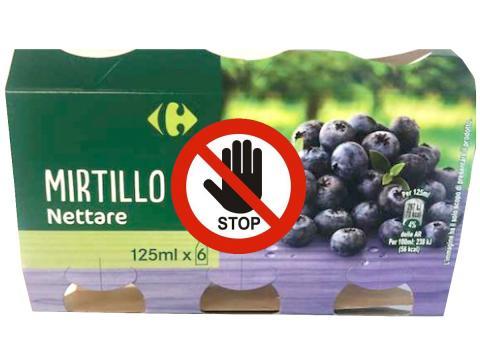 Carrefour richiama un lotto di Mirtillo Nettare per possibile presenza di frammento di vetro