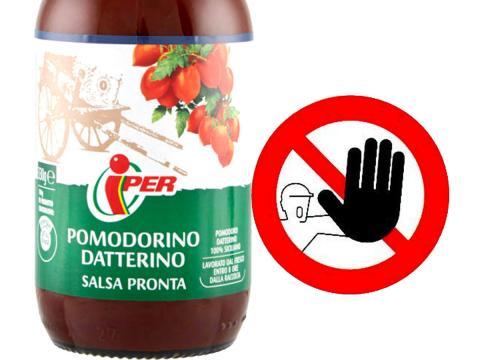Iper richiama un lotto di Salsa pronta di pomodorini datterini per possibile presenza di vetro