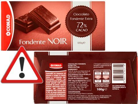 Richiamato da Conad il cioccolato fondente Noir per possibile presenza di frammenti di plastica