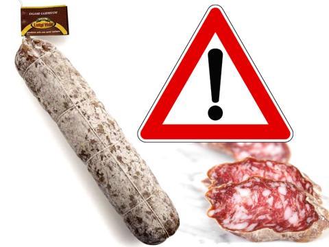 Richiamato il Salame casereccio Vida per possibile contaminazione di salmonella
