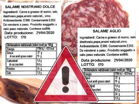 Salmonella presente nel salame nostrano dolce e con aglio di Mariga Giuseppe & C.